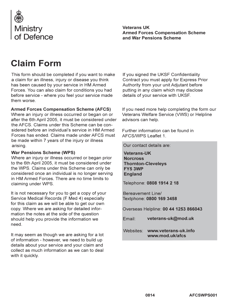 Get And Sign Afcs Claim Form 2014-2021
