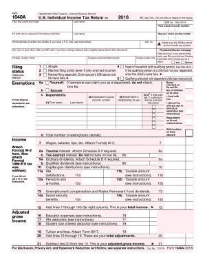 2017 form 1040a instructions.