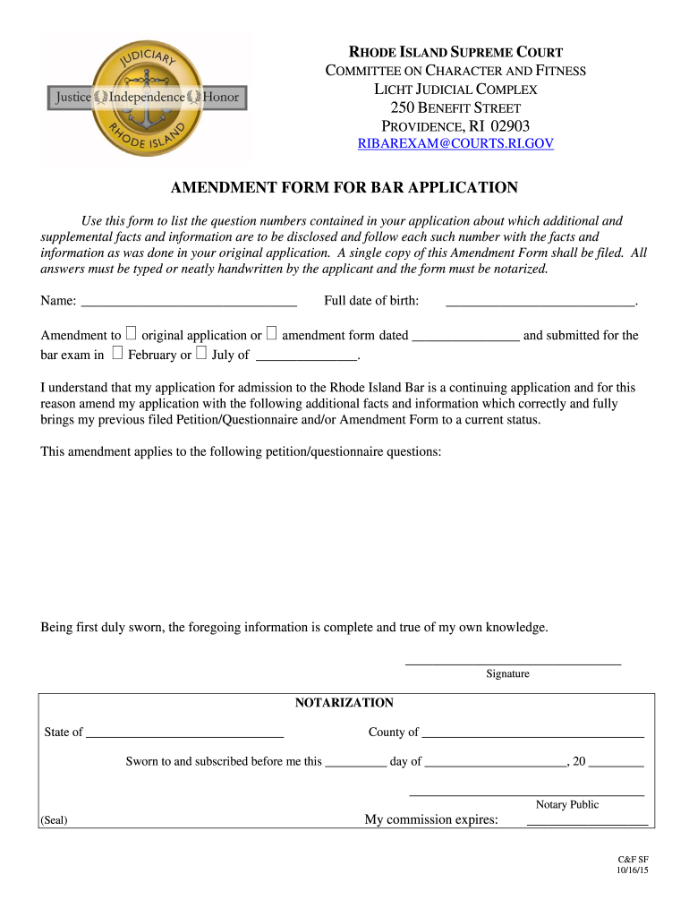 Get And Sign Ri Bar Application 2015-2021 Form