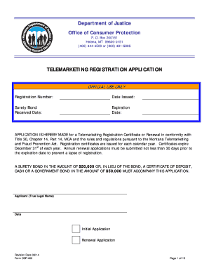 Get And Sign Telemarketing Registration Application - Montana Department Of Justice Form