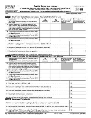 2015 irs schedule d form - Fill Out and Sign Printable PDF