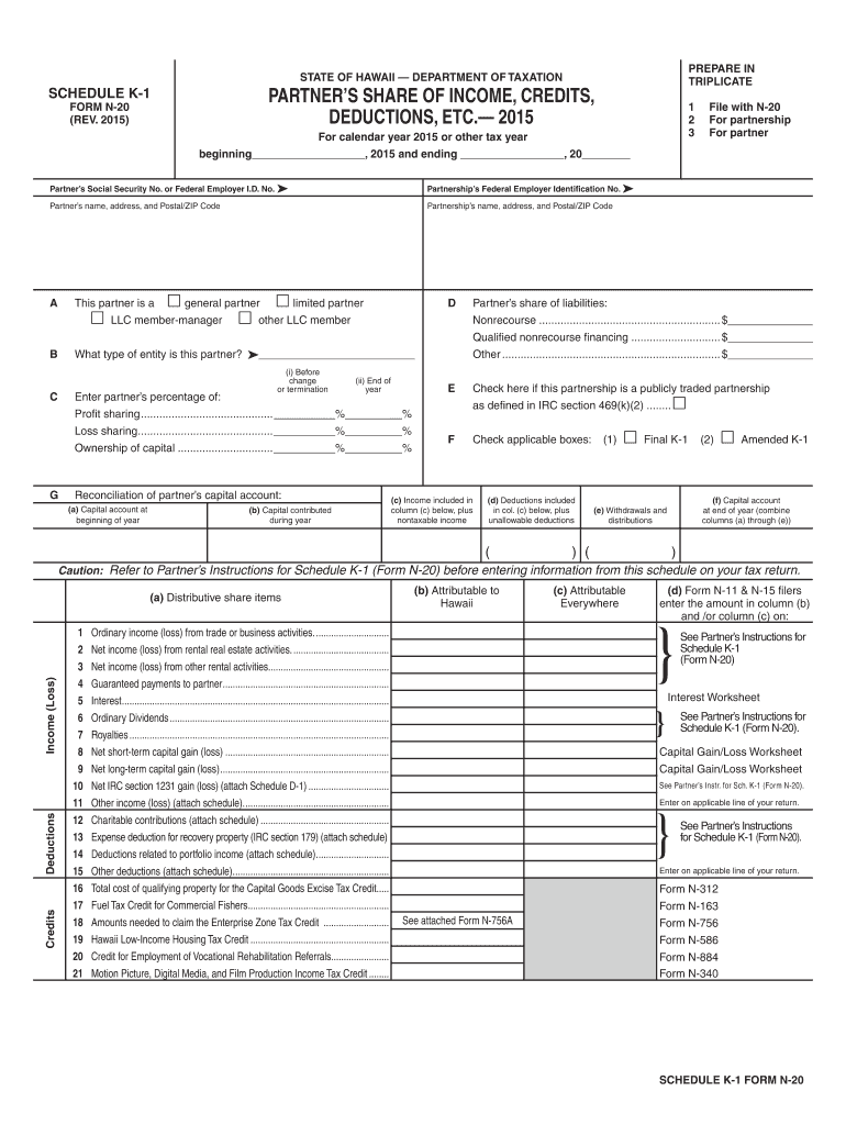 Get And Sign Hawaii Form N 20 2015-2021