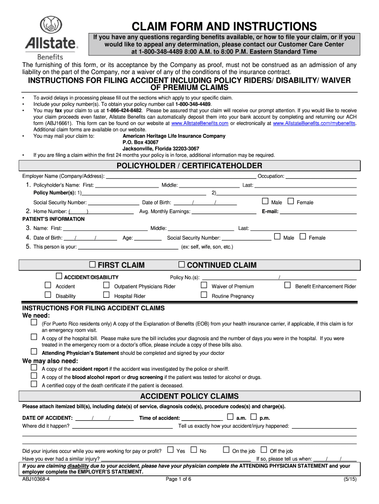 Allstate Claim Forms Fill Out And Sign Printable Pdf Template Signnow