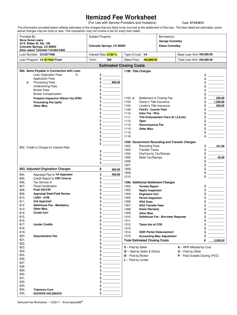 Get And Sign Mortgage Itemized Fee Worksheet Excel 2011-2021 Form
