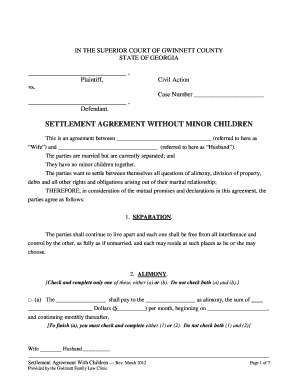 Get And Sign Ga Settlement Agreement Form - Fill Out and