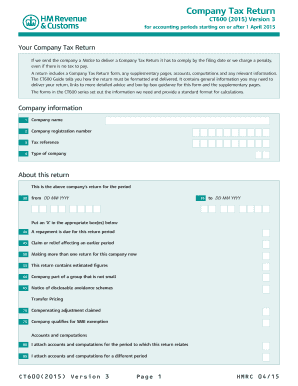 Ct600 Tax Return 2015 2019 Form Fill Out And Sign Printable Pdf