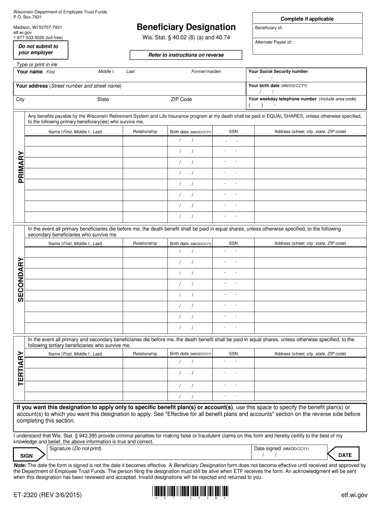 Get And Sign Wisconsin Etf Beneficiary Designation 2015-2021 Form