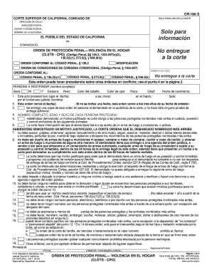 Get And Sign CR 160 Criminal Protective Order Domestic    California Courts  Courts Ca 2014-2021 Form