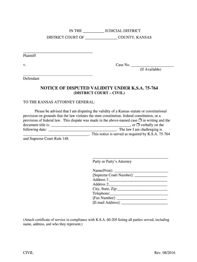 Get And Sign Notice Of Filing Dist Ct Civil Form 082316 docx Kansasjudicialcouncil 2016-2021