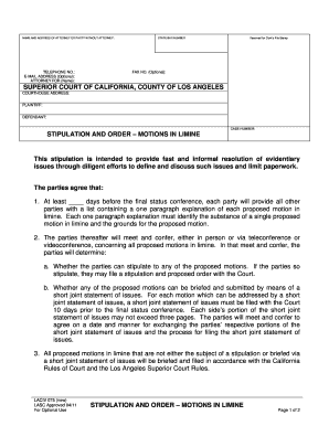 Get And Sign Proposed Order And Stipulation To Continue Trial, Fsc Los Angeles 2011-2021 Form