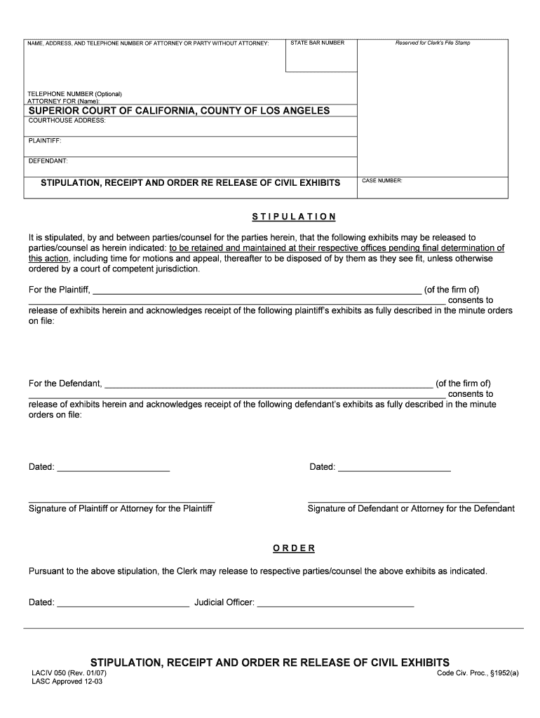 Get And Sign California Superior Court Los Angeles Forms 2007-2021