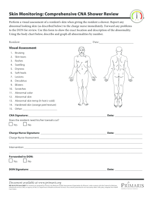graphic regarding Printable Skin Assessment Form named Pores and skin Checking Considerable CNA Shower Evaluation variety - Fill