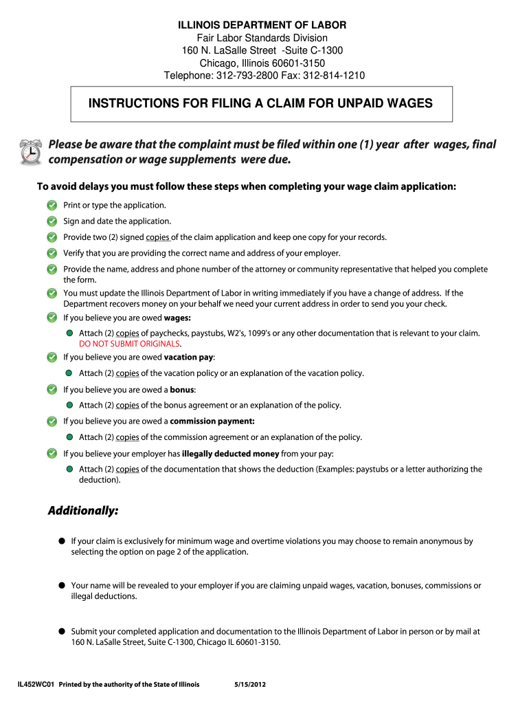 Get And Sign Illinois Wage Claim 2012-2021 Form