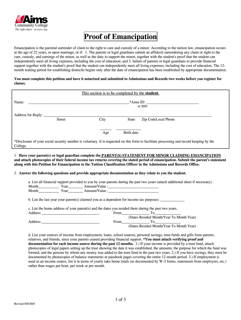 Get And Sign Proof Of Emancipation  Aims Community College  Aims 2005-2021 Form