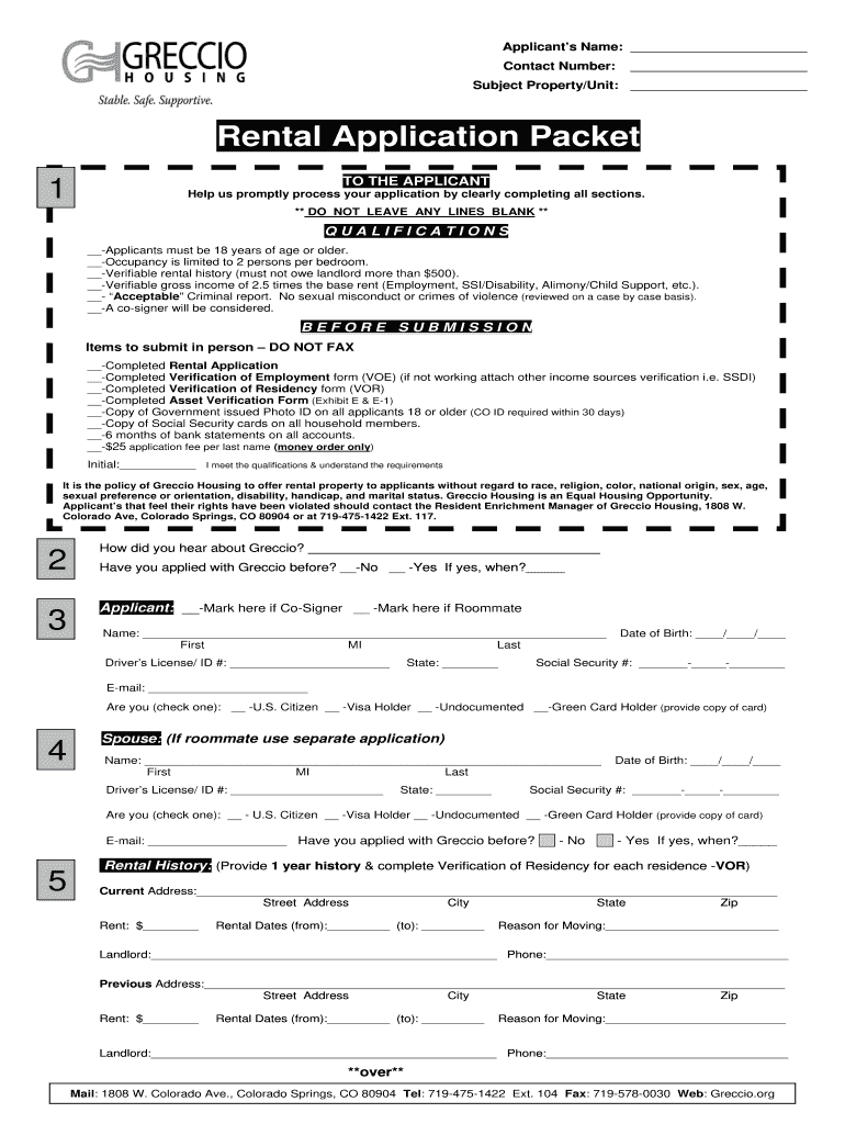 Get And Sign Greccio Housing In Colorado Springs Housing Application 2012-2021 Form