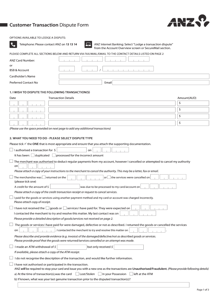 Get And Sign Anz Dispute Form 2015-2021