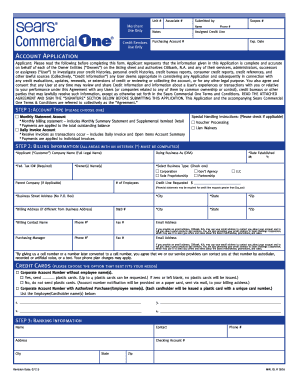 Sears Commercial One Application & form - Fill Out and