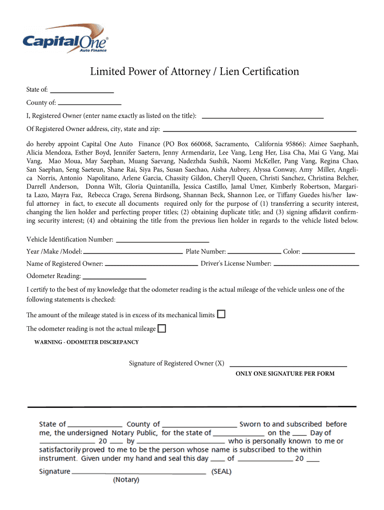 Capital One Limited Power Of Attorney Form Fill Out And Sign Printable Pdf Template Signnow