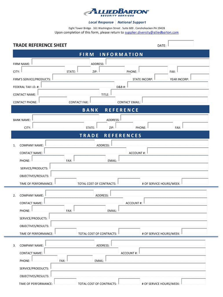 Trade Reference Fill Out And Sign Printable Pdf Template Signnow