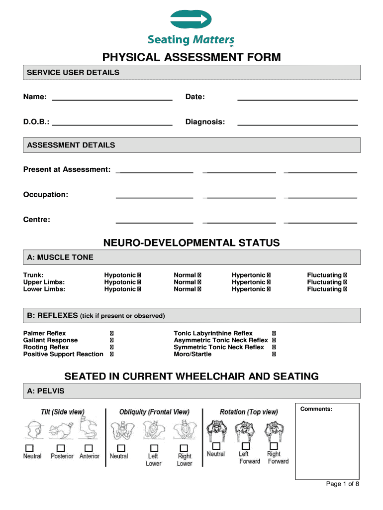 Physical Assessment Form Fill Out And Sign Printable Pdf Template Signnow