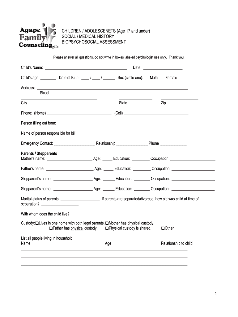 Children Biopsychosocial Assessment - Fill Out and Sign ...