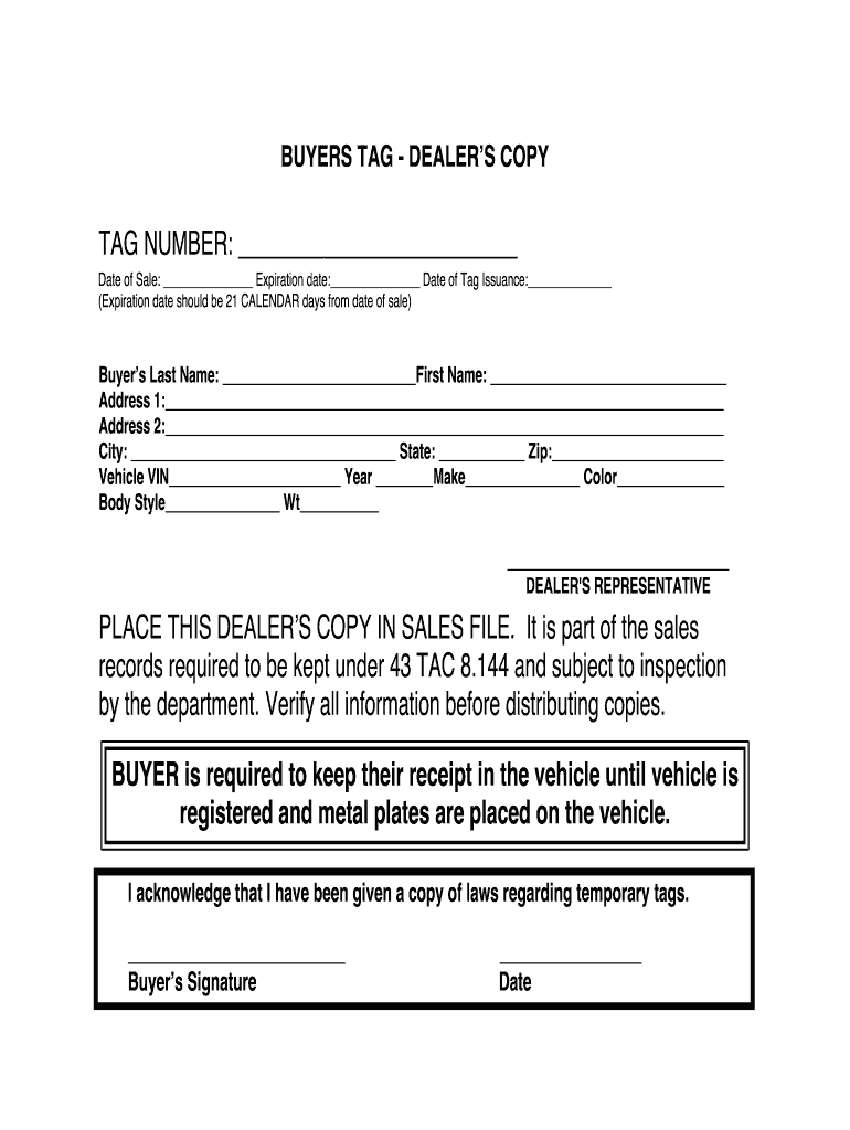 Editable Texas Temporary License Plate Template Fill Out And Sign Printable Pdf Template Signnow