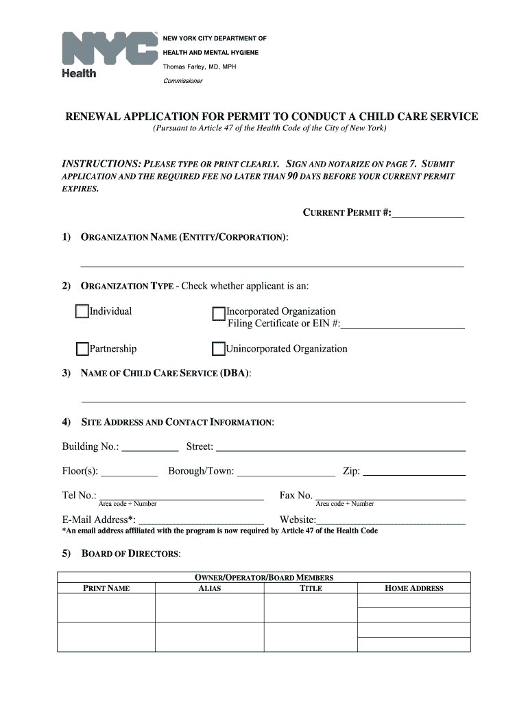 Get And Sign Renewal Application For Permit To Conduct A Child Care Service Form