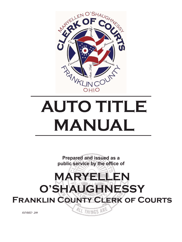 Get And Sign AUTO TITLE MANUAL  Franklin County, Ohio  Franklincountyohio Form