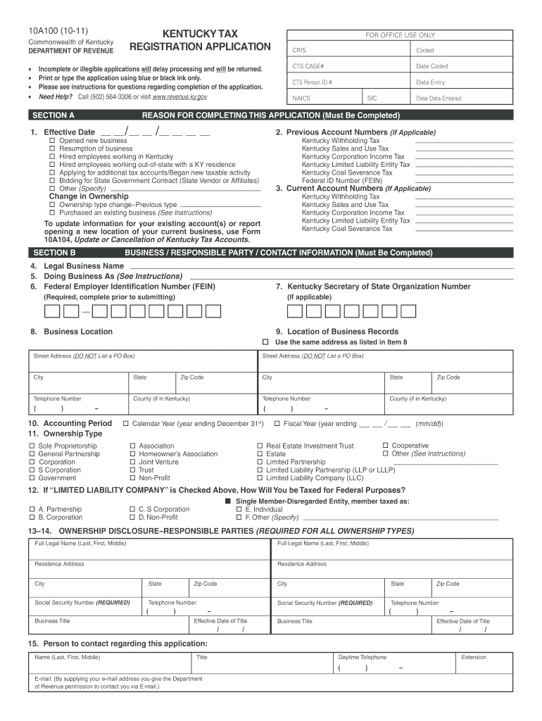 Get And Sign Kentucky Tax Registration  Form 2011-2021