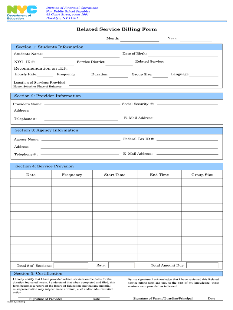 Get And Sign Nyc Do Independent Provider Of Related Service Billing Form Rsa 7a