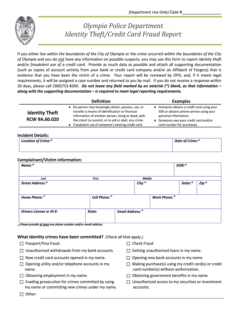 Identity Theft Report Fill Out And Sign Printable Pdf Template Signnow