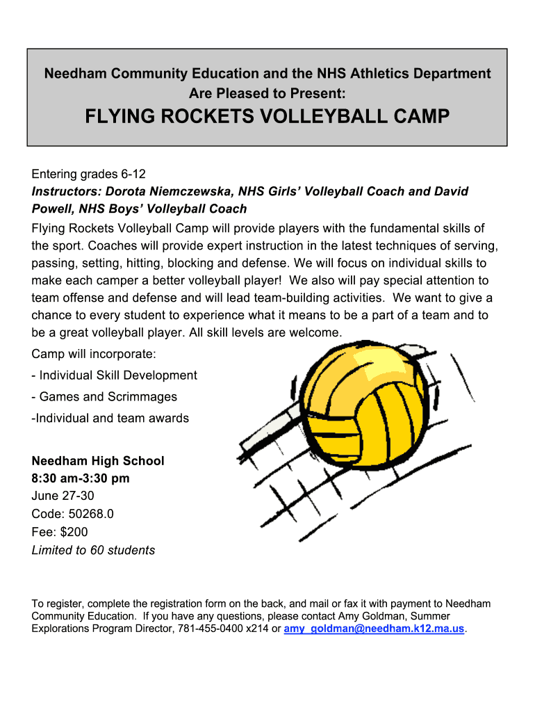 Get And Sign Needham Rockets Camp Volleyball 2011-2021 Form
