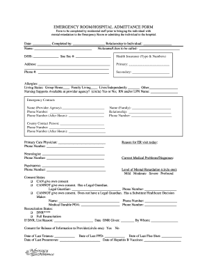 Get And Sign EMERGENCY ROOM/HOSPITAL ADMITTANCE FORM - Fill