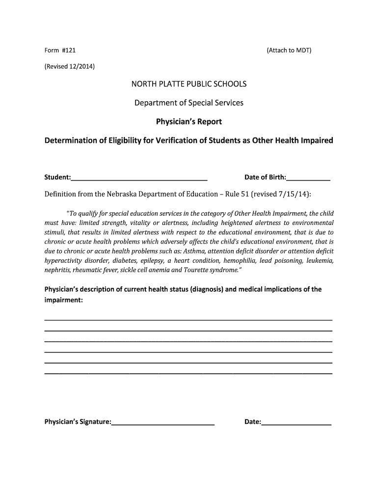 Get And Sign OHI Physician's Report Form  North Platte Public Schools  Nppsd 2014-2021