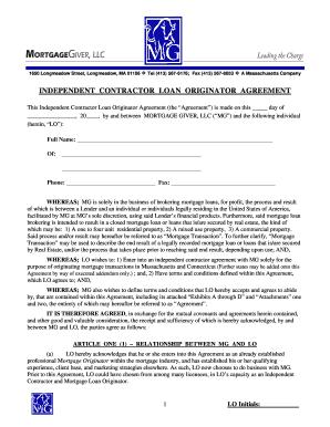 Independent Contractor Loan Originator Agreement Mortgage