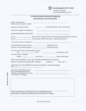 Immatrikulationsbescheinigung Fu