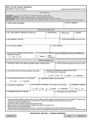 Get And Sign NAVPERS 1770/10  NEXT OF KIN TRAVEL REQUEST