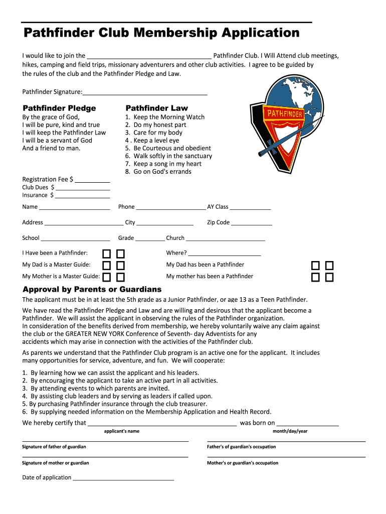 Get And Sign Pathfinder Application Form