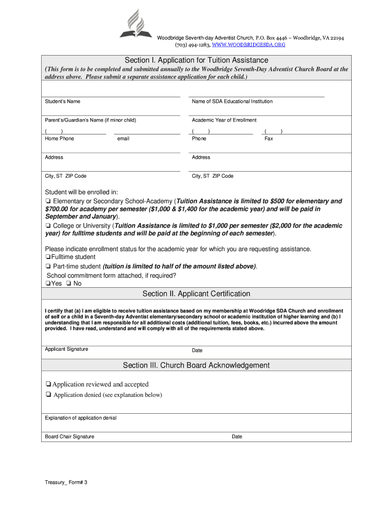 Get And Sign Section I Application For Tuition Assistance  Woodbridgesda Form