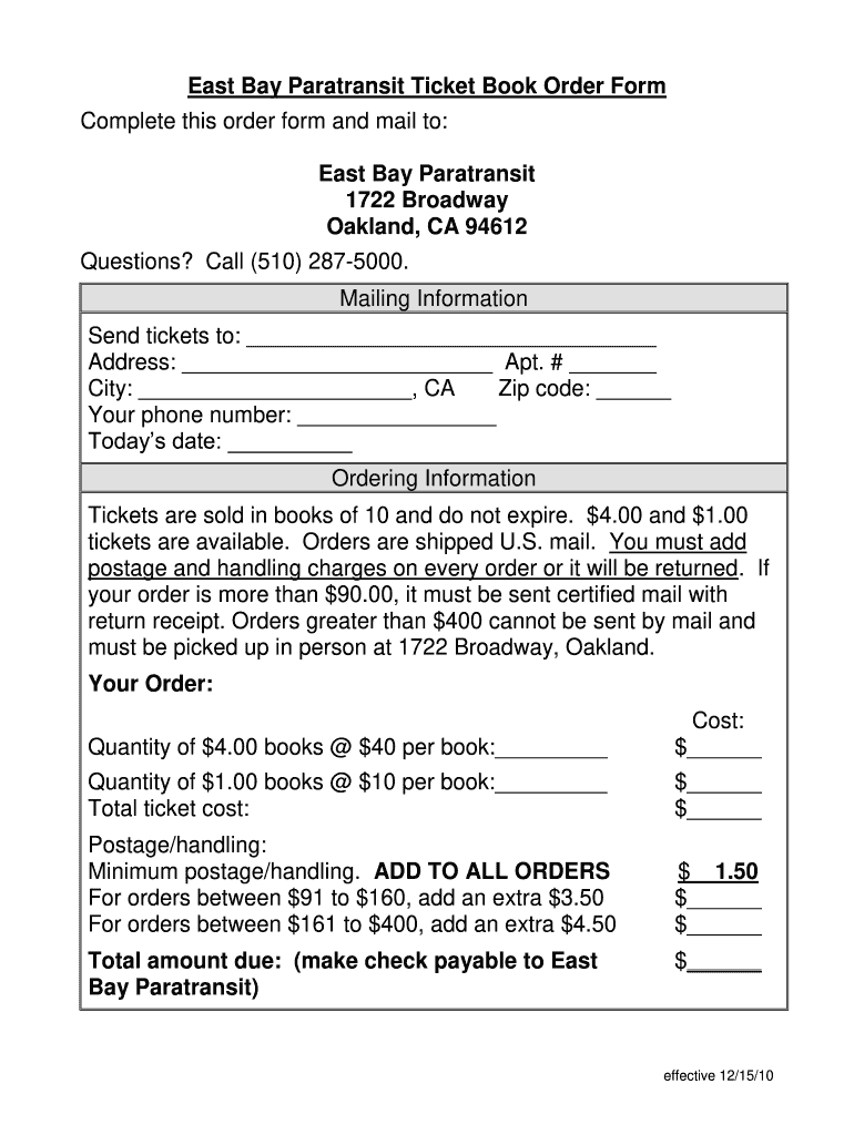 Get And Sign East Bay Paratransit Ticket Book Order Form Complete This Order    Eastbayparatransit