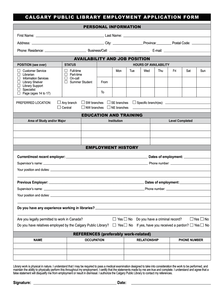 Get And Sign Library Employment Application Form