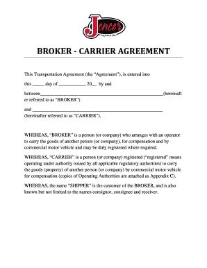 Jencor Logistics Inc Broker Carrier Agreement Docx Form