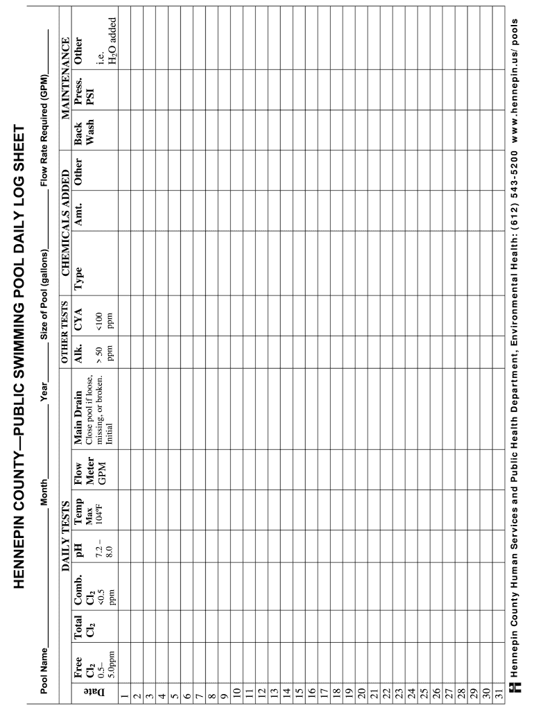 Printable Pool Log Sheet Fill Out And Sign Printable Pdf Template Signnow