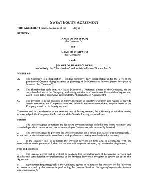 Sweat Equity Agreement Pdf Fill Out And Sign Printable Pdf