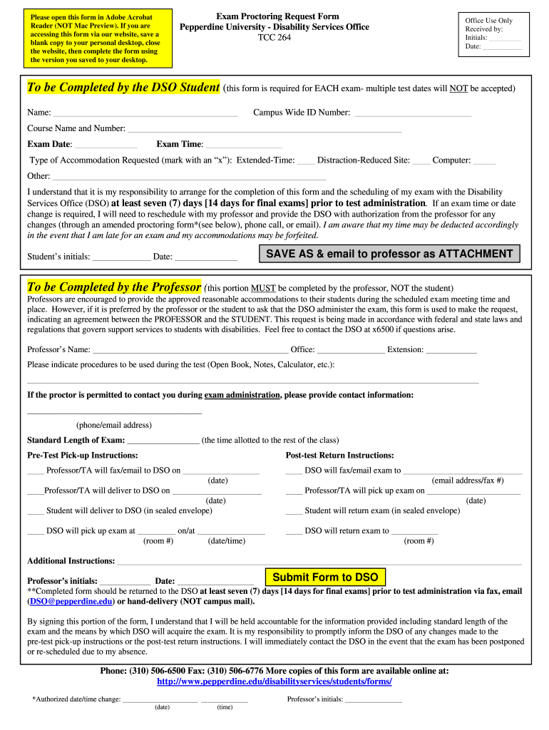 Get And Sign Request For Proctoring Services Form Pepperdine University