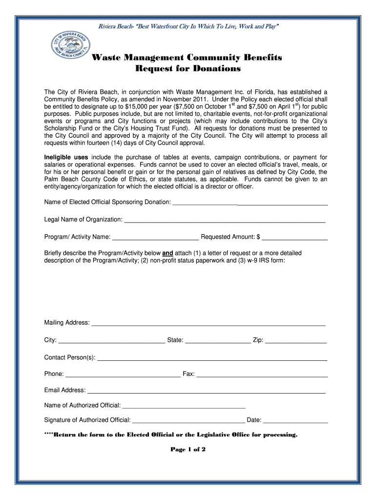 Get And Sign WM Community Benefits Form  City Of Riviera Beach