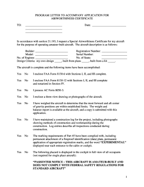 1 PROGRAM LETTER TO ACCOMPANY APPLICATION FOR - eaa form
