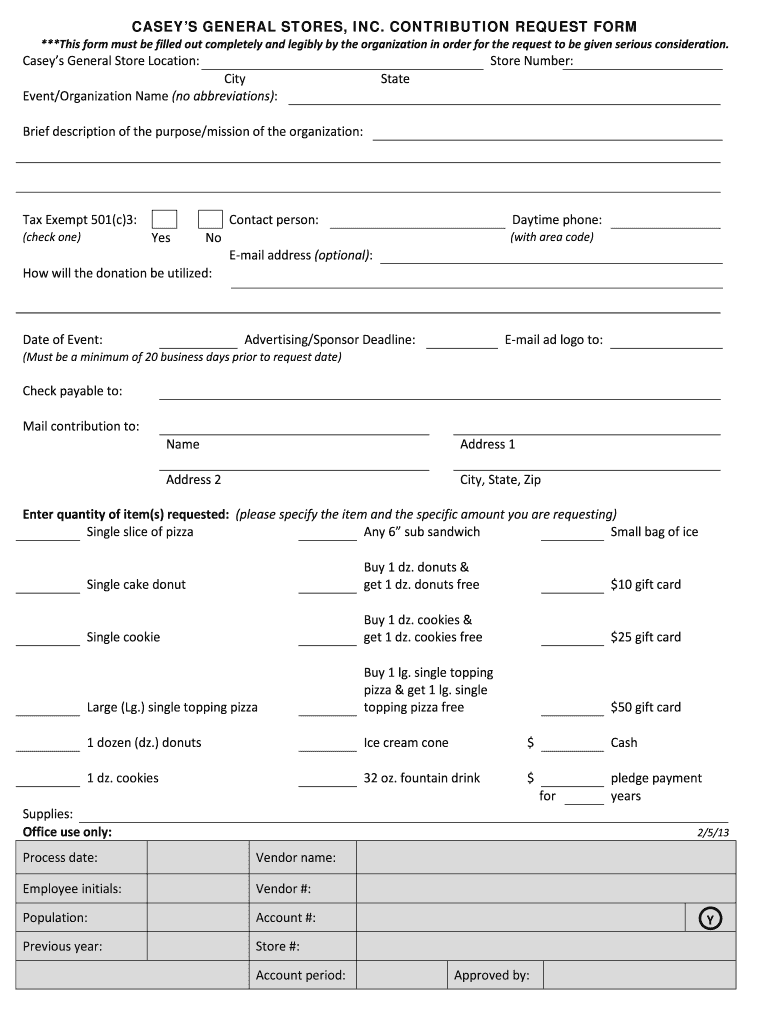 Get And Sign Request Donation From Casey's General Store Form