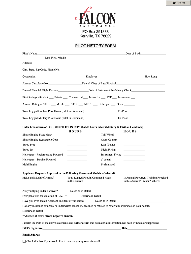 Get And Sign Pilot History Form