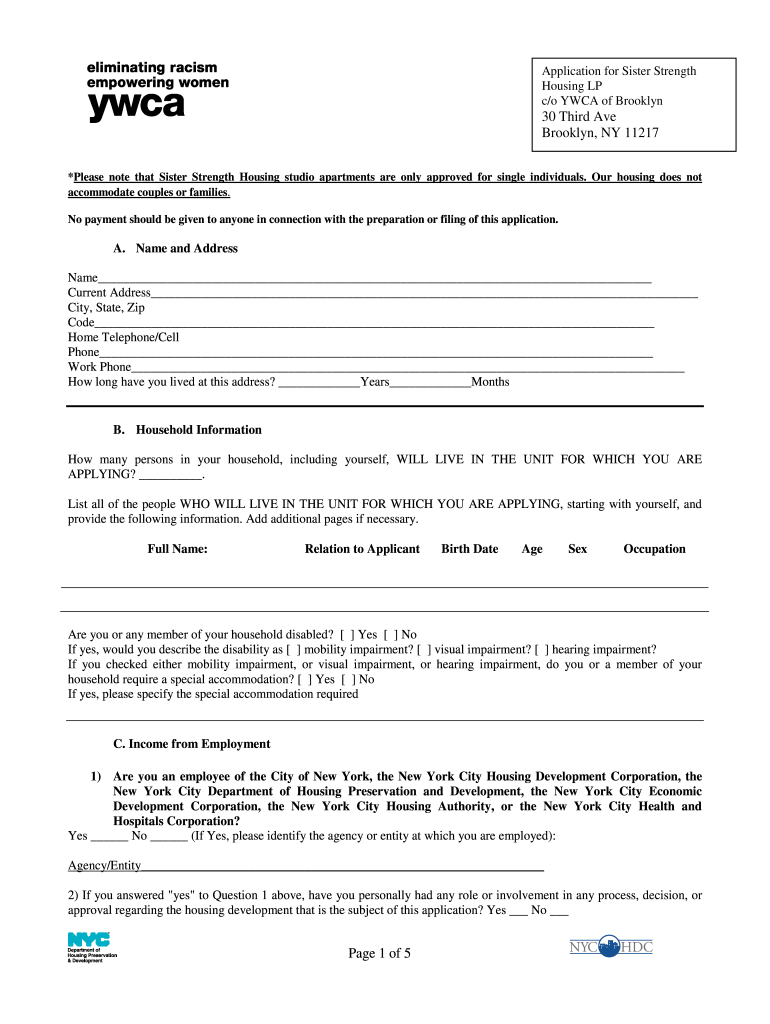 Get And Sign YWCA Studio Apartment Application  Cidny Form